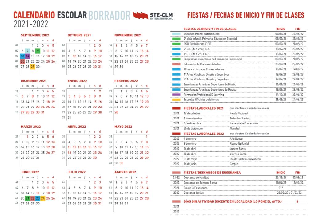 Calendario escolar de Castilla-La Mancha 2021-2022